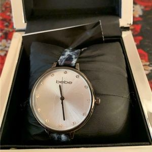 Bebe Crystal Accent Gunmetal Marble Strap Watch